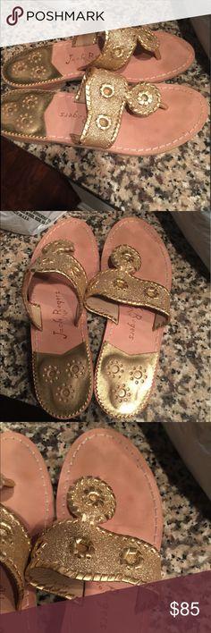 "Gold Jack Rogers Hamptons Gold size 7 Jack Rogers ""Hamptons"" sandals. Worn 2-3 times. Originally paid $119. Jack Rogers Shoes Sandals"