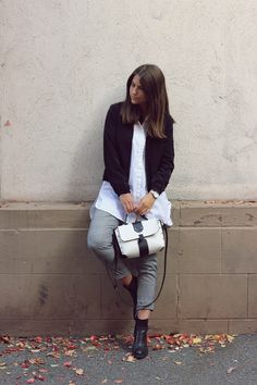 grey glencheck pants and white blouse with black jacket - Elena Sarah Love Her Style, Style Me, Cool Style, Winter Trends, Street Style Looks, Street Style Women, Mode Inspiration, Fashion Inspiration, Best Casual Outfits