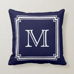 Shop Notched Corner Frame Navy Blue Background Monogram Throw Pillow created by circlealine. Navy Blue Throw Pillows, Decorative Throw Pillows, Navy Blue Background, Animal Skulls, Blue Backgrounds, Gifts For Dad, Pink And Green, Monogram, Corner