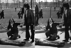 The 1970 Kent State massacre made international news. This photo was the iconic moment of that tragedy, appearing in many publications and winning a Pulitzer Prize. There was originally a fencepost behind Mary Ann Vecchio's head as she grieved over one of the four demonstrators killed by National Guard troops, it was removed and the rest is history.