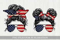 American Flag Bandana, Kids Usa, Fourth Of July Decor, Cartoon Faces, Cricut Vinyl, Messy Bun, Usa Flag, Print And Cut, Design Bundles