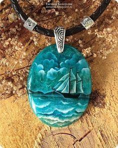 "Кулон с росписью ""Море"" (халцедон, серебро 925, лаковая миниатюра) - кулон с камнем"