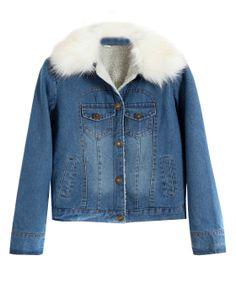 Fur Collar Denim Coat