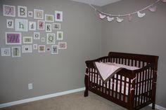 Alphabet wall (Uppercase Living) and crib