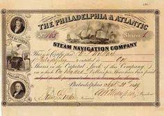 Philadelphia & Atlantic Steam Navigation Co. 1 share à 100 $ 16.9.1851.