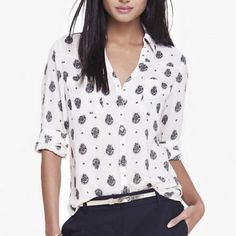 NWT Express Paisley Convertible Portofino Shirt S No more on the website! New with tags! Express Tops