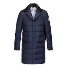 Men Moncler Dark Blue Gamme Bleu Peaked Lapels Padded Coat