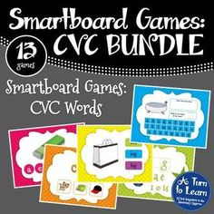 This MEGA bundle of smartboard games will have students use technology to practice reading and spelling CVC words. This set of 13 activities will have your students segmenting and spelling words with short vowel sounds. Save 40% by buying these games as part of a bundle! WHAT GAMES ARE INCLUDED IN THIS BUNDLE?