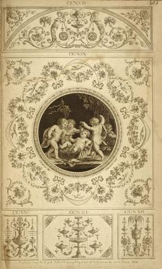 Central design of four cherubs eating grapes.