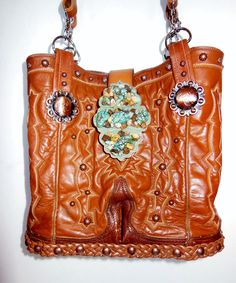 Double StageCoach Bag created from vintage cowboy boot tops.  Handmade, one of a kind, numbered fashion wear pieces.  www.stagecoachbagsandcollectibles.com Makeup Case, Fashion Wear, Leather Bags, Leather Working, Purses And Handbags, Cowboy Boots, Clutches, Belts, Electric