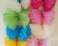 """6 hanging 11"""" ceiling wall tissue paper pom pom butterfly's party wedding,baby shower,christenings, nursery decorations"""