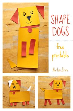 A fun way to learn about shapes while making a sweet dog! activities for preschool Shape animals: free printable dog craft shape activity Free Preschool, Preschool Crafts, Kindergarten Activities, Preschool Activities, Preschool Shapes, Preschool Printables, Preschool Art Centers, Preschool Art Lessons, Preschool Learning