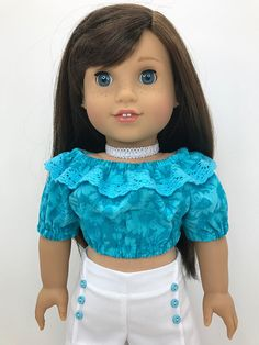 18 inch doll clothes -Aqua flower print peasant crop top with crochet trim in the neckline ruffle.
