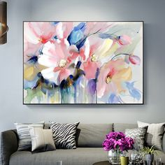 """Universe of goods - Buy """"Abstract Watercolor Flower Oil Painting Print On Canvas Modern Wall Art Flower Picture For Living Room Wall Poster Cuadros Decor"""" for only USD. Oil Painting Flowers, Abstract Flowers, Watercolor Flowers, Painting Prints, Flower Painting Abstract, Wall Painting Frames, Poster Color Painting, Big Canvas Art, Flower Painting Canvas"""