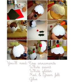 Paint of your bauble with white paint making the edge scalloped. While the paint is wet, sprinkle over your white glitter. Handmade Christmas Tree, Christmas Ornaments To Make, Christmas Holidays, Christmas Crafts, Christmas Decorations, Felt Glue, Christmas Inspiration, Christmas Ideas, Christmas Pudding