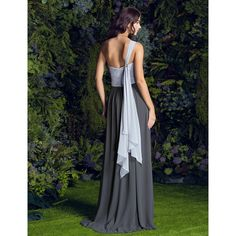 A-line One Shoulder Sweep/Brush Train Georgette Bridesmaid Dress