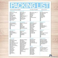 Printable goodie for you! Modern Aqua Packing List - Printable, at Printable Planning. Printable Packing List, Packing Checklist, Packing Lists, Vacation Checklist, Moving Checklist, Moving Tips, Cleaning Checklist, Vacation Ideas, Holiday Checklist
