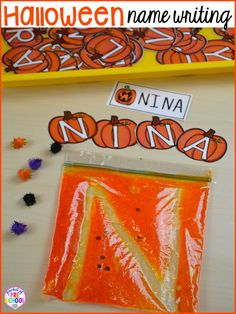 Fun engaging Halloween activities and centers for preschool, pre-k, and kindergarten. Take the Halloween theme in all your classroom centers with these Halloween activities. Preschool Names, Fall Preschool Activities, Preschool Writing, Math Writing, Writing Letters, Writing Activities For Preschoolers, Preschool Art, Thanksgiving Kindergarten Art, Halloween