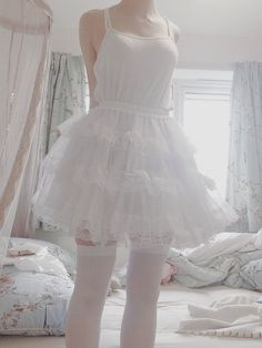 Very delicate lace petticoat~. Kawaii Fashion, Cute Fashion, Look Fashion, Style Lolita, Light Pink Rose, Kawaii Clothes, White Aesthetic, Daddys Girl, Aesthetic Clothes