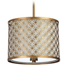 Cyan Design Calypso Gold Leaf Pendant Light with Drum Shade