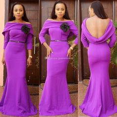 2016 Wedding Guest Dresses Purple Bridesmaid Dresses Long Sleeves Mermaid Evening Dresses Prom Party…
