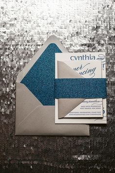 CYNTHIA Suite Glitter Package, blue and silver wedding, glitter wedding invitations, black tie wedding invitations, letterpress wedding invitations, modern wedding invitations, http://justinviteme.com/collections/styled-collections/products/cynthia-suite-glitter-package