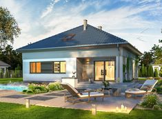 Wizualizacja ARP TRYTON B CE Villa, Exterior, House Design, Patio, Mansions, Outdoor Decor, Outdoor Ideas, House Styles, Home Decor