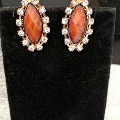 Shade of brown stone zirconia lobster clasp earrings