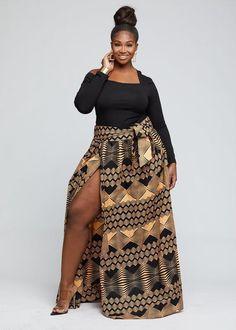 Zahra Cyrah African Print Maxi Skirt with Sash (Black Peach Geometric) – Skirts Sets Zahra Fashion African Print Jumpsuit, African Print Skirt, African Print Clothing, African Print Dresses, African Print Fashion, African Dress, African Style, Ankara Fashion, African Men