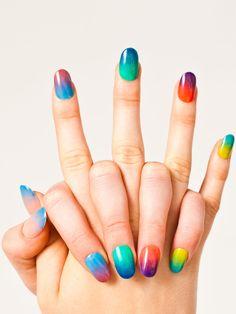 wow! @AmericanApparel sheer nail polish ... it's like a rainbow! #color #nails