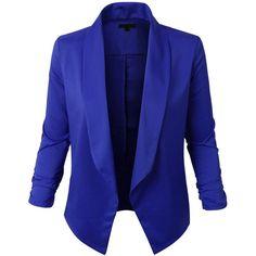 RubyK Womens Ultra Lightweight Summer Open Front Draped Tuxedo Blazer ($11) ❤ liked on Polyvore featuring outerwear, jackets, blazers, blue tux jacket, blue blazer, dinner jacket, open front blazer and tuxedo blazer