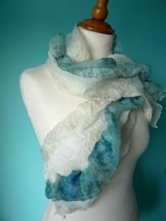 more nuno felting- beautiful white and turquoise scarf