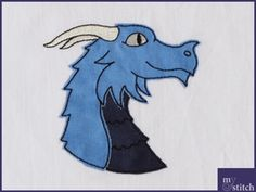 Stickdatei blauer Drache 4 Fransenapplikation Moose Art, Etsy, Vintage, Animals, Fictional Characters, Blue Dragon, Handmade Gifts, Kite, Appliques