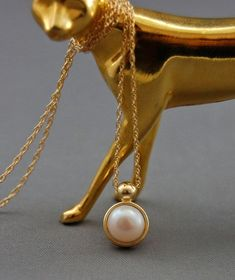 Mina - Freshwater pearl pendant, pearlpendant, gold pendant, pearl necklace, wedding pendant, pearl jewelry, chain included, woman, gift
