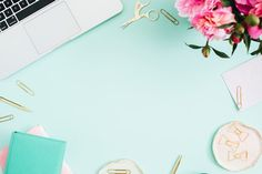 Flat lay home office desk. Female workspace with laptop, pink peonies bouquet, golden accessories, pink and mint diary on mint background. Leaves Wallpaper Iphone, Vintage Desktop Wallpapers, Mint Background, Powerpoint Background Design, Instagram Background, Youtube Banners, Home Office Desks, Pink Peonies, Banner Design