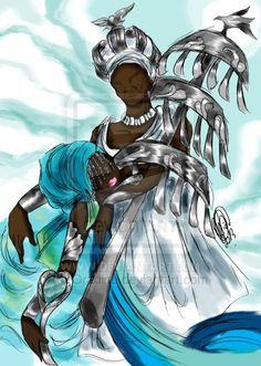 Baba Obatala and his wife Yeye Yemoja Orisha, Mystic River, Cool Animations, African History, Book Of Shadows, Gods And Goddesses, Deities, Black Art, Ancestry