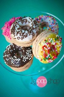 Le Pop Shop Donut Macarons...too cute!~Macaron Inspiration board by Bella Bella Studios!