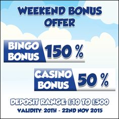 #HappyFriday everyone! Get the weekend started with #GameVillage and the #Weekend #Bonus offer!    Visit https://www.gamevillage.com and play your favorite bingo and casino games   Validity : 20th to 22nd Nov, 2015  For Bonus & Withdrawal Rules visit https://www.gamevillage.com/terms-and-conditions