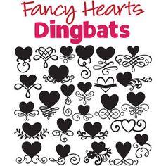 Silhouette Design Store: sg fancy hearts dingbats font