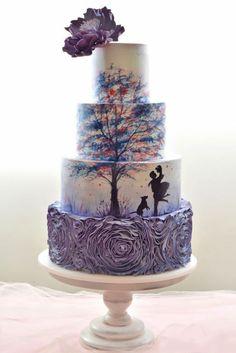 Purple printed wedding cake / http://www.deerpearlflowers.com/amazing-wedding-cake-ideas/4/