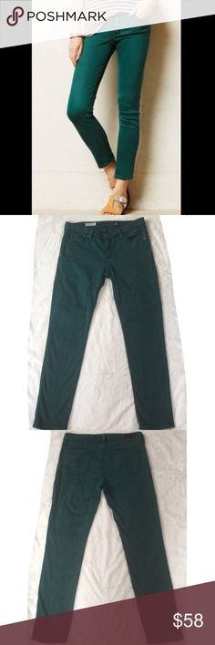 "AG The Stevie Ankle Slim Straight Leg Jeans These AG ADRIANO GOLDSCHMIED jeans in hunter green are slimming and stylish! Gently preloved and in excellent condition! See 4th pic for fabric info. Measurements (laid flat) - Waist (across front): 15"", Rise: 8"", Inseam: 27.75"", Leg opening: 6"". SIZE 28R AG Adriano Goldschmied Jeans Ankle & Cropped"