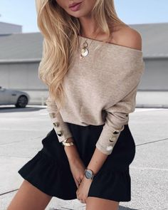 Solid Off Shoulder Buttoned Blouse Women's Online Shopping Offering Huge Discounts on Dresses, Lingerie , Jumpsuits , Swimwear, Tops and More. Casual Dresses, Casual Outfits, Cute Outfits, Fashion Outfits, Womens Fashion, Latest Fashion, High Fashion, Long Cardigan Coat, Look Chic