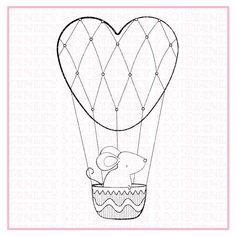 Hot air Balloon  cute  mouse  digital stamp  birthday