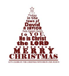 Luke 2 text art Christmas tree + Merry Christmas