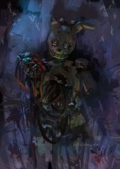 """FNAF two anniversary, one hour drawing challenge """"most favorite FNAF character"""" I have not recently painted pictures of FNAF, but still love the spring trap."""