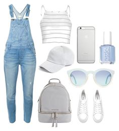 """""""Baby blue"""" by monichicha2 ❤ liked on Polyvore featuring MICHAEL Michael Kors, rag & bone, Native Union, Glamorous, Current/Elliott, Essie, TrickyTrend and overalls"""