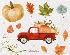 Vintage Farm, Vintage Trucks, Logo Personnel, Pumpkin Arrangements, Tree Clipart, Autumn Illustration, Clip Art, Fall Wallpaper, Fall Pumpkins