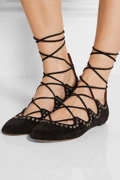 Isabel Marant | Leo lace-up embellished suede ballet flats | NET-A-PORTER.COM