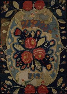 "Embroidery Folk Spray of Flowers Hooked Rug -Artist unidentified;"" Probably New England 1868 Wool on burlap 46 x 32 in. American Folk Art Museum, gift of Joel and Kate Kopp, - Vintage Hooks, Hand Hooked Rugs, Textiles, Primitive Folk Art, Penny Rugs, Ravelry, Wool Applique, Rug Hooking, Textile Art"