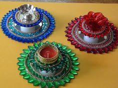 Rangoli decorated candel tray etc diya pooja thali on for Diya decoration youtube